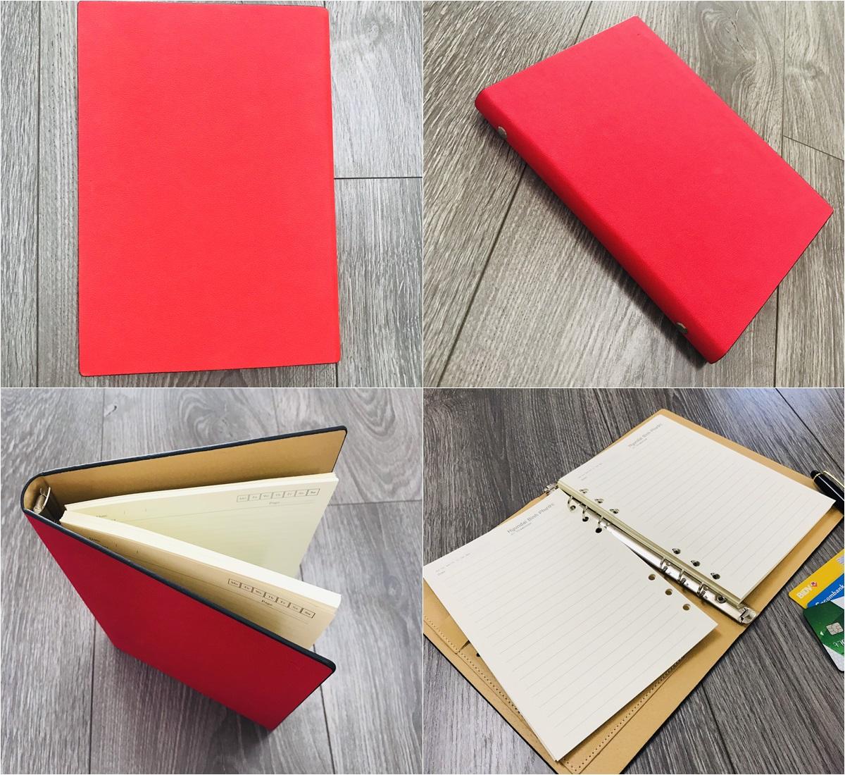 Mẫu sổ bìa da có sẵn mẫu LSA5-G2B màu đỏ