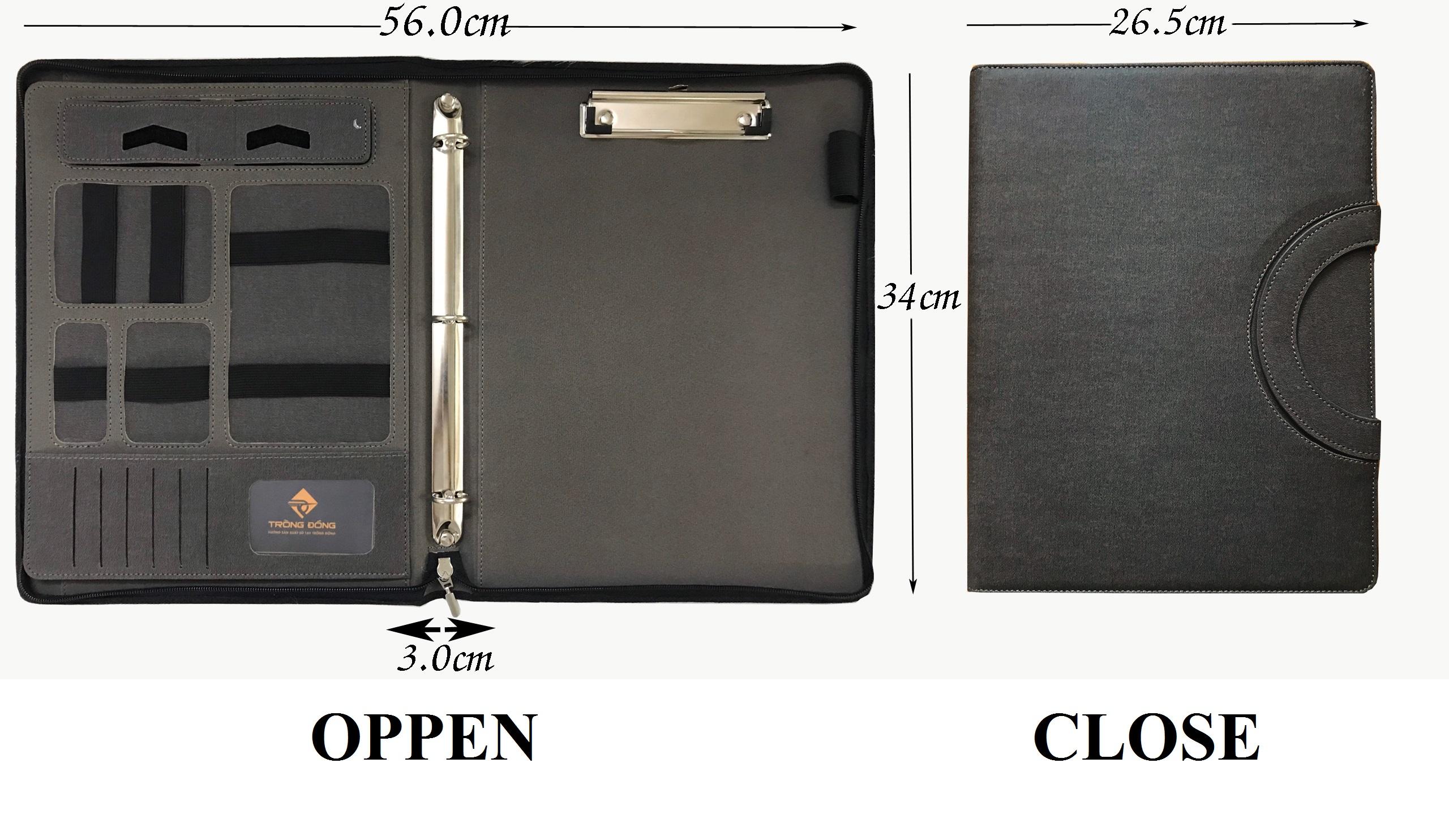 Với kích thước cỡ lớn (26.5 x 34 x 3.0 cm) đựng vừa các tài liệu khổ A4