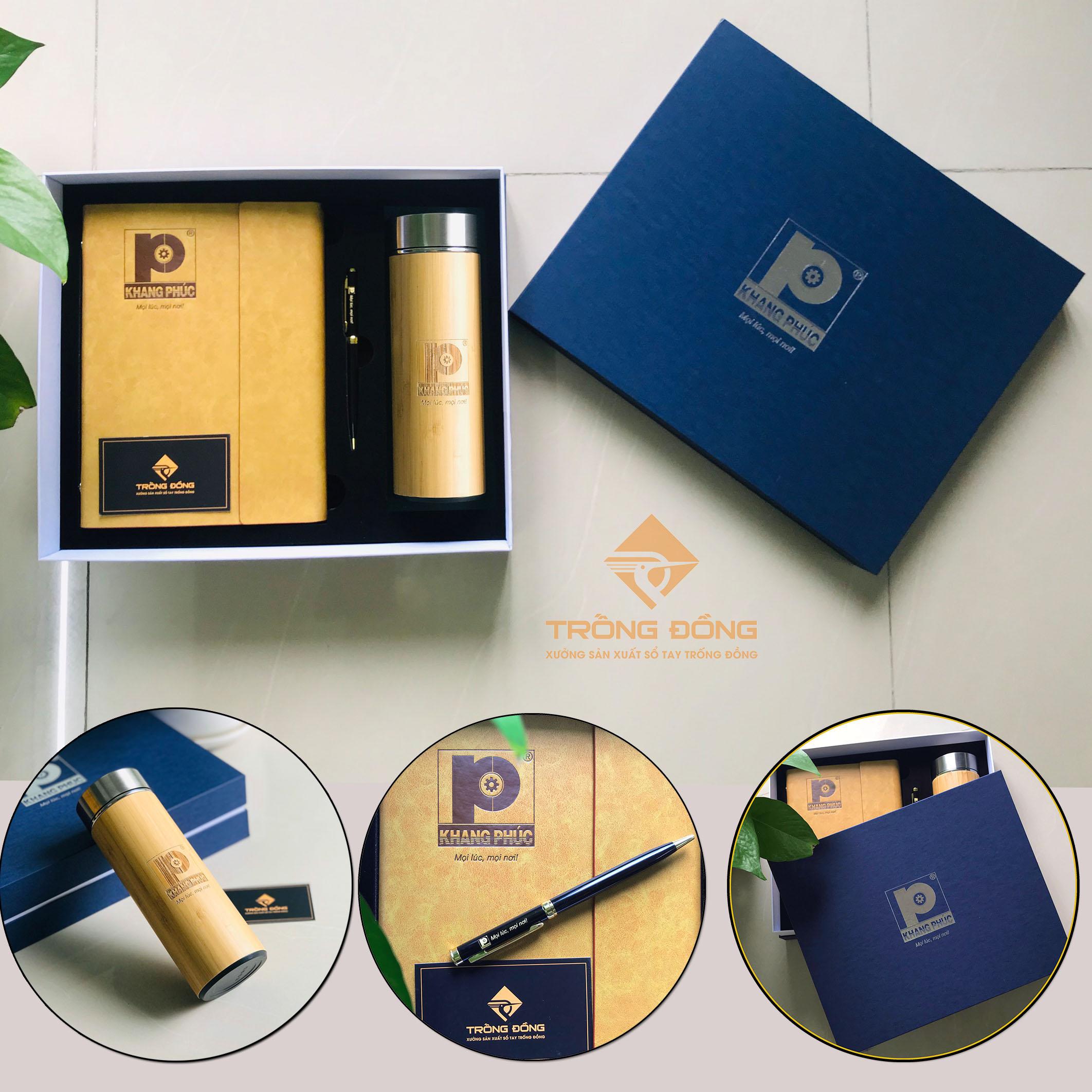 Bộ Quà  Tặng Giftset Sổ Tay + Bút Bi + Bình Giữ Nhiệt In Logo 2